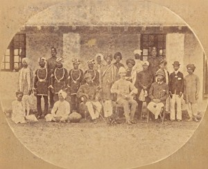 India Bombay English Officer House & Servants Old Photo ca 1865