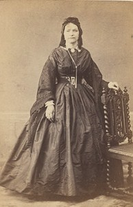 Woman Clothes French Fashion Paris Old Photo CDV 1865