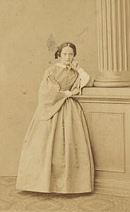 Woman Clothes French Fashion Paris Old Photo CDV 1865