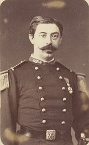 Paris Military Captain Legion d Honneur Medal Old Photo CDV 1870
