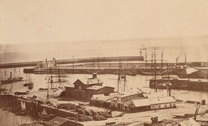 Commercial Harbor Brest Old Photo CDV Mage 1870