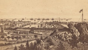 Cherbourg Panorama Maugendre France Old Photo CDV 1870