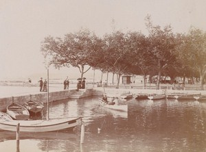 Boats Aix les Bains Street Scene Snapshot Instantaneous 1900