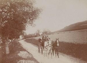 Horse Car Aix les Bains Street Scene Snapshot Instantaneous Photo 1900