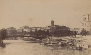 Le Pont d Arcole Paris Street Life Old Animated Instantaneous Photo 1885