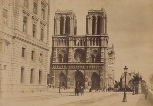 Notre Dame Facade Paris Street Life Old Animated Instantaneous Photo 1885