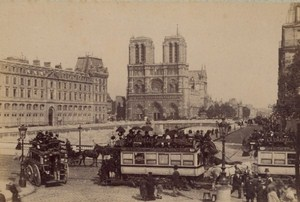 Stagecoach Paris Street Life Old Animated Instantaneous Photo 1885