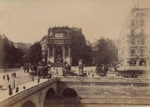 La Fontaine Saint Michel Paris Street Life Old Animated Instantaneous Photo 1885