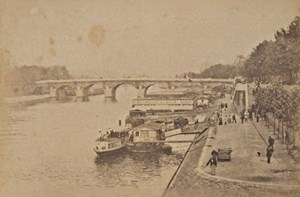 Le Pont Neuf Boats Paris Street Life Old Animated Instantaneous Photo 1885