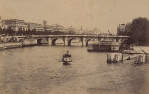 Le Pont Neuf Boats Paris Street Life Old Instantaneous Photo 1885