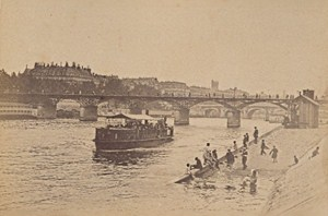 Ponts des Arts Boats Bath Paris Street Life Old Instantaneous Photo 1885
