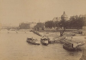 L Institut Boats Seine Paris Street Life Old Instantaneous Photo 1885
