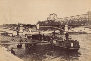 Pont des Saint Peres Taxi Boats Paris Street Life Old Instantaneous Photo 1885