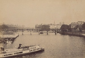 Pont des Arts Seine Swimming Pool Paris Street Life Old Instantaneous Photo 1885
