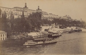 Pont Royal Taxi Boats Paris Street Life Old Animated Instantaneous Photo 1885