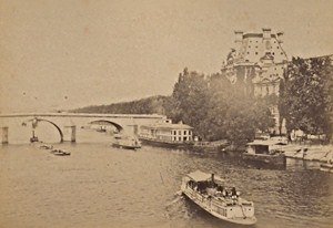 Pont Royal & Pavillon de Flore Paris Street Life Old Instantaneous Photo 1885