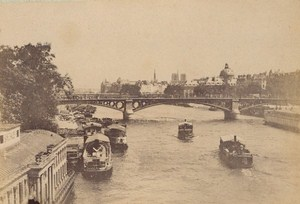 Pont Royal Bateaux Paris Street Life Old Animated Instantaneous Photo 1885