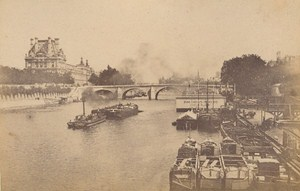 Pont Solferino Boat Swimming Pool Paris Street Life Old Instantaneous Photo 1885