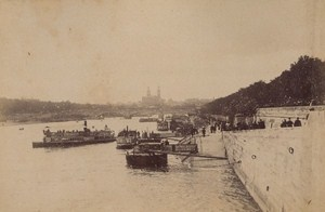 Pont de la Concorde Boats Paris Street Life Old Instantaneous Photo 1885