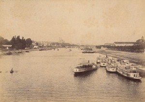 Le Point du Jour Boats Paris Street Life Old Instantaneous Photo 1885