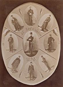 Paris Infantry Military Uniform France Photomontage Old Photo 1898