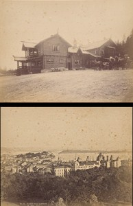 Christiania & Holmenkollen Hotel Oslo Norwegian landscape Two Old Photos 1890