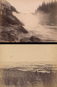 Christiana & Ler Fall Norwegian landscape Two Old Photos 1890