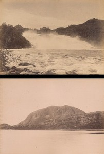 Ler Falls & Torgatten Norwegian landscape Two Old Knudsen Photos 1890