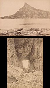 Hestmando Nordland & Torghatten Norwegian landscape Two Old Knudsen Photos 1890