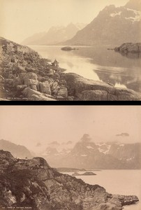 Lofoten Raftsund Nordland Norwegian landscape Two Old Photos 1890