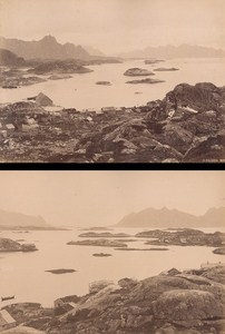 Lofoten Island Svolvaer & Mollasund Norwegian landscape Two Old Photos 1890