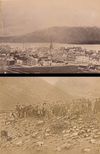 Arctic Circle Group & Tromsoe Norwegian landscape Two Old Photos 1890