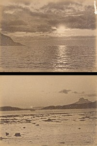 Finmarken Midnight Sun Norwegian landscape Two Old Photos 1890
