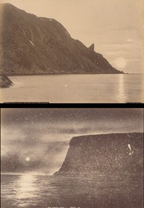 Nordkaphorn Finmarken Midnight Sun Norwegian landscape Two Old Photos 1890