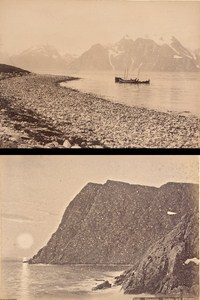 Lyngenfjord & Nordkaphorn Finmarken Midnight Sun Norway Two Old Photos 1890