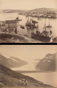 Christiansund & Svartissen Norwegian landscape Two Old Photos 1890