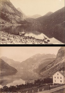 Geirangerfjord Norwegian landscape Two Old Photos 1890