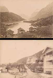 Nordfjord Faleide & Loenvandet Norwegian landscape Two Old Photos 1890