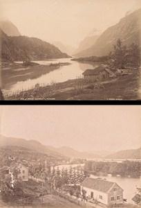 Nordfjord Loenvandet & Sondfjord Forbe Norway Two Old Photos 1890