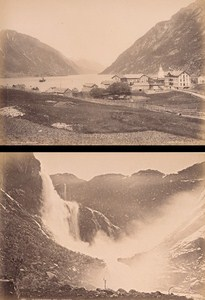 Hardanger Fjord Odde & Skeggedals Falls Norway Two Old Photos 1890