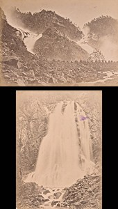 Hardangerfjord Laat & Espelands Falls Norwegian landscape Two Old Photos 1890