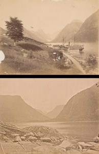 Sognfjord Fortudalen & Mundal Norwegian landscape Two Old Photos 1890