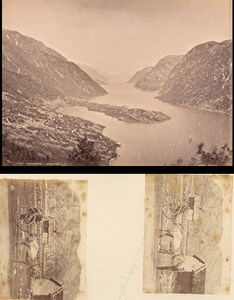 Hardangerfjord & Horse cab Norwegian landscape Three Old Photos 1890