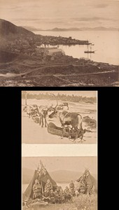 Reindeer Herders & Hammerfest Norwegian landscape Three Old Photos 1890