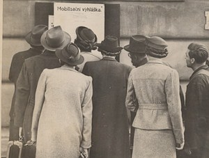 Czecholovakia, Prague General mobilization Poster People Old Photo 1938