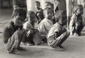 India Calcutta Flood Childrens Old Photo 1977