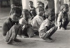 India Calcutta Flood Children Old Photo 1977