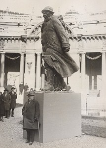 Sculptor Francois Cogne & his Clemenceau Paris France Old Photo ca 1930