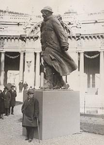 Sculptor Francois Cogne & his Clemenceau Paris France Old Photo 1930
