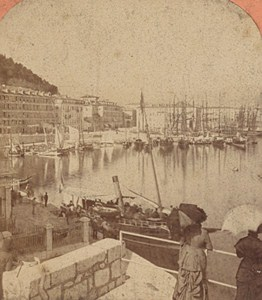 Nice Harbor General View France Old Stereo Photo Lucchesi 1880
